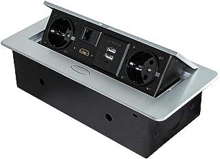 Emuca Multi Socket Retractable Table Recessable, Multi-Connector Socket Base (EU Type F, USB, RJ45 and HDMI), 5029525