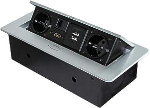 Emuca 5029525 Adapter naar Europese stekker, metallic grijs, 265 x 120 mm