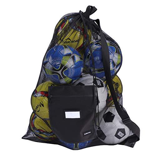 Leberna - Borse a rete con coulisse, per tutte le attrezzature sportive come basket, pallavolo, baseball, calcio, nero