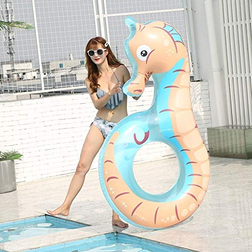 MGWA inflatable pool toys Swimming pool inflatable, hippocampus model swimming ring inflatable pool floating water lounge floating row adult children, 150*120*110cm