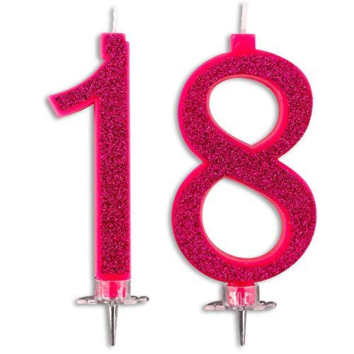 Velas Maxi 18 años para tarta fiesta cumpleaños | Decoraciones Velas Aniversario Tarta 18 | Fiesta Tema | Altura 13 cm Fucsia Glitter