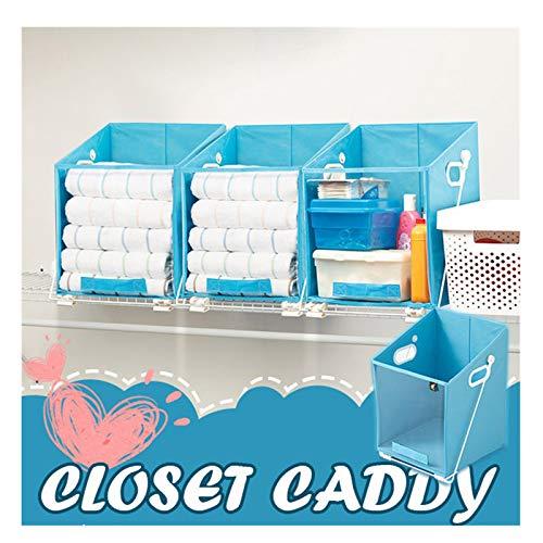 Wangjiahua Easy Lift Closet Caddy Box, Closet Caddy Pull Down Shelf Storage Basket, Shelves Storage Bag for Bedroom,Bathroom and Kitchen Sort Organizer Box (1pc)
