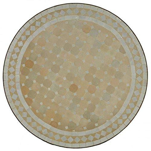Casa Moro Marokkanischer Mosaiktisch Ø 80cm rund weiß terrakotta mit Gestell H 73cm Kunsthandwerk aus Marrakesch Mediterraner Gartentisch Balkontisch Bistrotisch Esstisch | MT2096