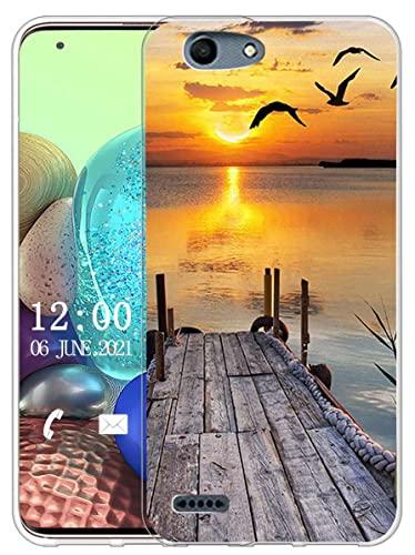 Sunrive Kompatibel mit Vodafone Smart E8 Hülle Silikon, Transparent Handyhülle Schutzhülle Etui Hülle (X Sonnenuntergang See)+Gratis Universal Eingabestift MEHRWEG