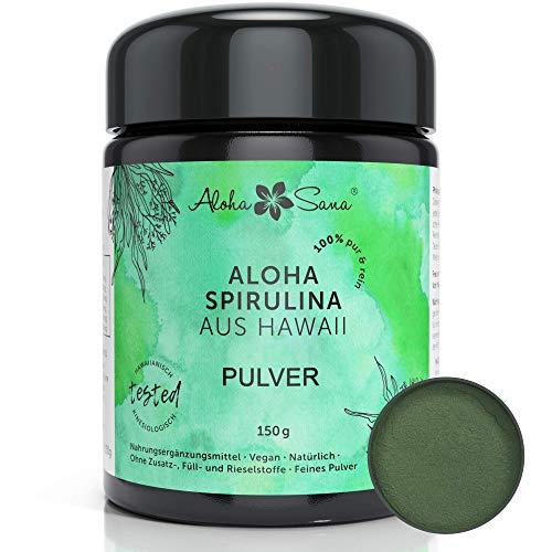 Aloha Sana - Hawaii Spirulina Pacifica Algen Pulver, Ultraviolettglas, laborgeprüft, energetisch getestet, Made in Germany (150 Gramm)