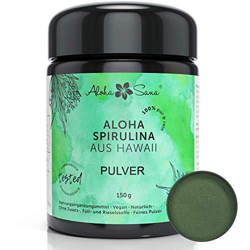 Aloha Sana - Hawaii Spirulina Pacifica Algen Pulver, Ultraviolettglas, laborgeprüft, energetisch getestet, Made in Germany (150 Gramm)