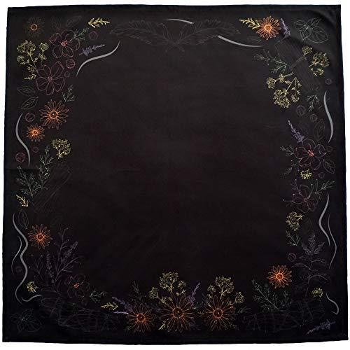 Kitchen Witch Herbology: Tarot-Tuch für alle Tarotkarten, 61 x 61 cm, groß (schwarz)
