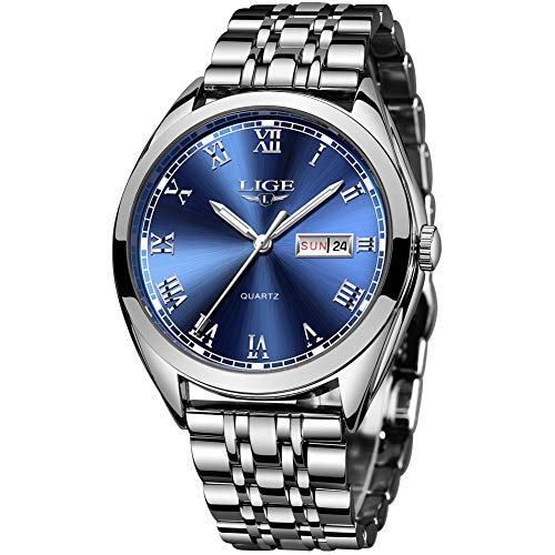 LIGE Herren Uhren Männer Silber Edelstahl Wasserdicht Designer Armbanduhren Mann Leuchtende Analog Datum Business Uhren