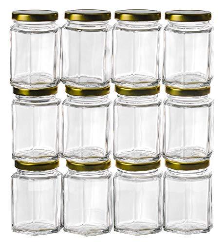 Premium Vials 12 pièces, 6 oz Hexagon Mason Jars avec couvercles d'or pour la Confiture, Miel, faveurs de Mariage, faveurs de Douche, Half Pint (12, 6 oz Hex w/couvercles d'argent)