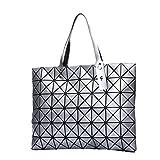 ADEMI Lady Geometric Mode Smooth Diamant Shopper-Handtasche Einkaufstasche Multicolor,Silver-OneSize