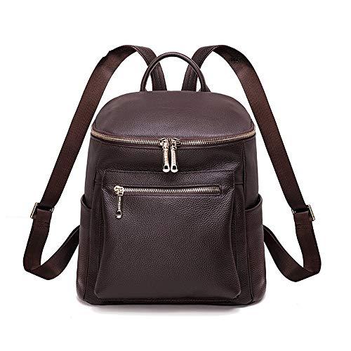 MSF-Des sacs Sac À Dos pour Femme en Cuir Double Zipper Travel Sac Seau Grande Capacité Campus Wind Student Bag Sac À Dos (Color : Brown)