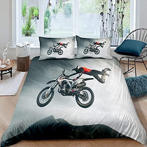 Copripiumino, set di biancheria da letto per bambini, ragazzi, uomini, bambini, design motocross, motocross, moto, biancheria da letto, copriletto, super king
