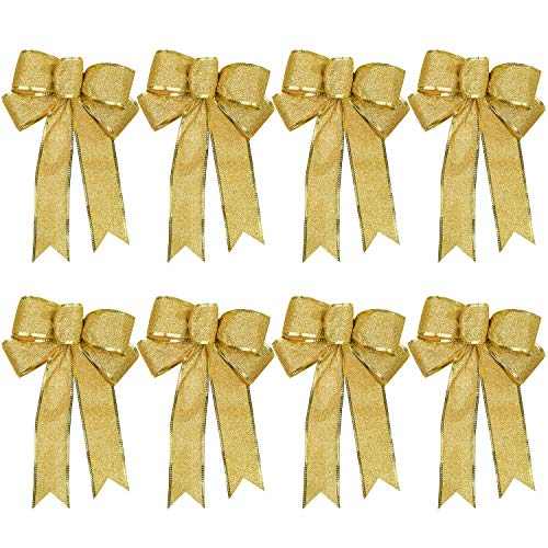 Lvydec 8 Pack Glitter Christmas Bows Decoration - Gold Bows Ornaments for Christmas Tree Christmas Wreath Garland Holiday Party Decoration (Gold)