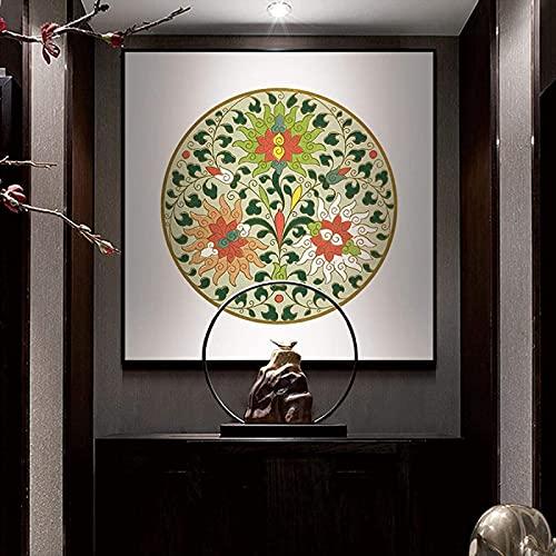 XMYC Estilo nórdico chino estilo clásico tibetano templo budista Thangka carteles acuarela fotos sala de estar decor15.7 x 15.7 pulgadas (40 x 40 cm) sin marco