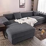Funda elástica para sofá Chaise Longue, Funda para Sofa en Forma L, Funda Chaise Longue Derecho/Izquierdo (un sofá esquinero en L Requiere 2) (Color : A, Size : 3 plazas (190-230cm))