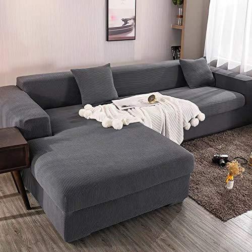 Funda elástica para sofá Chaise Longue, Funda para Sofa en Forma L, Funda Chaise Longue Derecho/Izquierdo (un sofá esquinero en L Requiere 2) (Color : A, Size : 4 plazas (235-300cm))