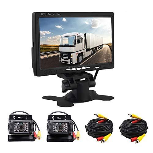 RV - Sistema di telecamera posteriore per auto, con due dispositivi di visione notturna a infrarossi, display a colori HD da 7 pollici, telecamera di retromarcia per camper, autobus, rimorchio, camion