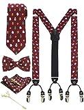 JEMYGINS Hosenträger Herren Dunkelrot, Weihnachts geschenk in Seide Weihnachten begrenzt 3.5cm Y Form mit 6 starken Clips Weihnachtsgeschenke und Krawatte Fliege Einstecktuch...