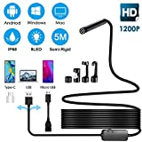 USB Endoscope,Inspection Camera Borescope 1200P 3 in 1 HD 2 MP CMOS Waterproof Snake Camera Pipe Drain with 6 Adjustable Led Light for Android,Computer,Smartphone,Samsung,Windows,Tablet,Pc-16.4 ft/5M