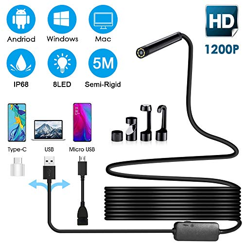 Endoscopio USB, 1200P Cámara de Inspección Boroscopio 2.0 Megapíxeles HD 3 en 1 Cable Semirrígido Serpiente Impermeable Endoscope con 8 Led Ajustable para Android Smartphone/PC/Laptop /Windows/Mac, 5M