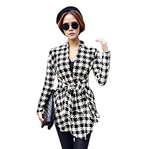 VJGOAL Otoño e Invierno para Mujer de Moda Casual Clásico patrón de Pata de Gallo Salvaje Rebeca Rebeca Chaqueta Outwear(L,Negro)