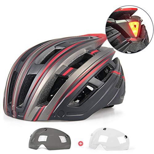 Helmet Cascos De Ciclismo Todo Terreno De 22 Hoyos Cascos De Bicicleta De Montaña Ajustables Casco De Seguridad Cómodo para Unisex, con Gafas De 2 Piezas(Color:Rojo)