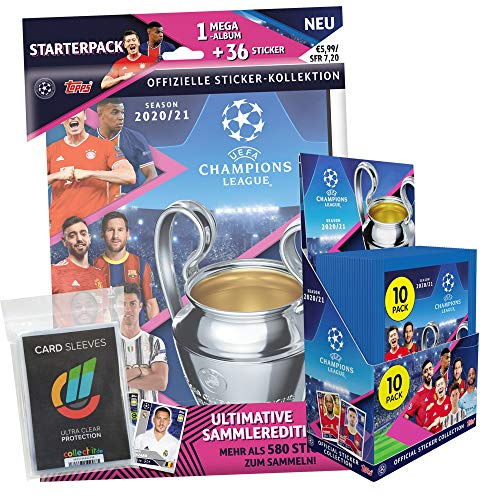 Topps - Champions League 2020/21 Sticker - 1 Display (30 Tüten) + 1 Album inkl. 36 Tüten + 40 Collect-it Hüllen Sleeves