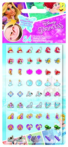 CRAZE Disney Princess 27 Paar Ohrringe selbstklebend 53547, 0, 1 x 8, 5 x 18, 3 cm, Mehrfarbig