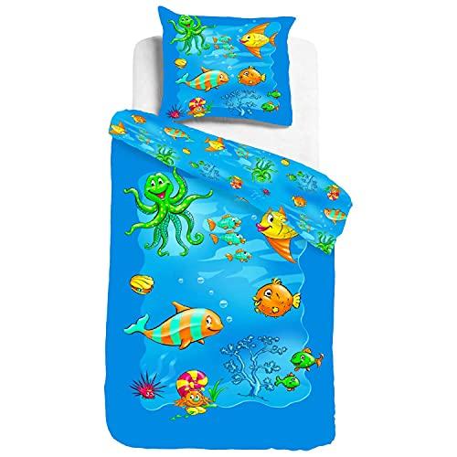 ESPiCO Kinderbettwäsche Sleep and Dream Unterwasserwelt Seeigel Muscheln Krake Meer Kugelfisch Meeresbewohner Renforcé, Größe:135 cm x 200 cm
