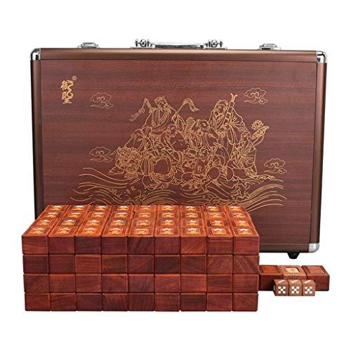 SEESEE.U Mahjong, Brettspiel, 144 traditionelle chinesische Mahjong-Spiele zum Reiben der Hand, Solid Mah Jong mit Aluminiumbox für Party, Unterhaltung, Sammlung, Geschenk (Größe: 37,5 x 28 x 21,5 mm