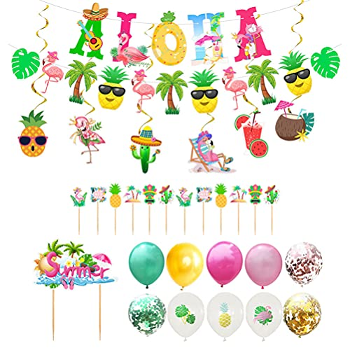 Amosfun Hawaiian Aloha Party Decorations Flamingle Pineapple Garland Aloha Banner Cupcake Topper Balloons Hanging Swirl Luau Party Supplies
