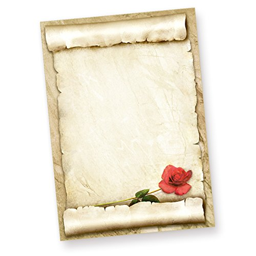 Tatmotive ROTE ROSE Briefpapier (50 Blatt) Schönes Liebesbrief-Motivpapier