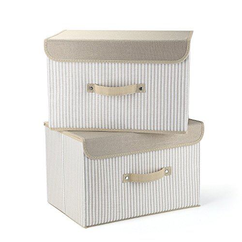 EZ GENERATION Cajas de Almacenamiento Juego de 2, Cestas de Almacenamiento Plegables de Tela de algodón Cestas con Tapas y Asas Caja de Almacenamiento para estantes Contenedor de Ropa (Crema Raya)