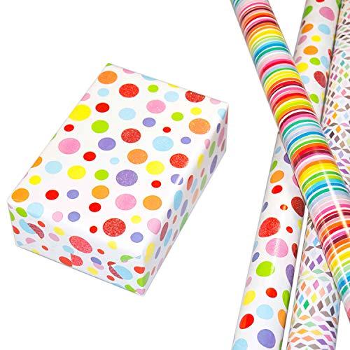 Geschenkpapier Kinder Set 3 Rollen (75 x 150 cm), modernes Streifen Geschenkpapier bunt, Punkte hochwertig mit Glitter veredelt, Rauten auf mattweißem Fond. Für Geburtstag, Kinder, Frühling, Sommer.