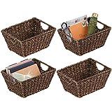mDesign Juego de 4 cestas trenzadas con asas – Prácticas cestas...