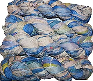 100 g Sari Pure Silk Recycled Ribbon Yarn Teal Cream