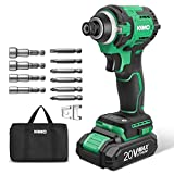 KIMO 20V Brushless Cordless Impact Driver w/Lithium-ion Battery/Charger, 3500RPM Variable Speed/1800 In-lb Torque, 5/8'' Keyless Chuck, 6pc Driver Bits & 4pc Socket Bits for Metal Concrete Wood