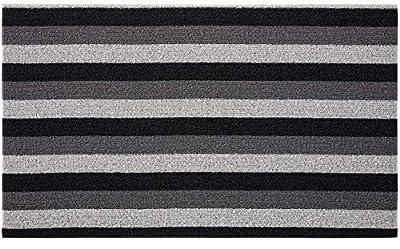 Gorilla Grip Premium Loop Doormat, 30x17.5, Soft Decorative Striped Scraper Door Mats, Durable Backing, Heavy Duty Tufted Bristles Mat for Indoor, Outdoor Entrance, Easy Clean, Black and Gray