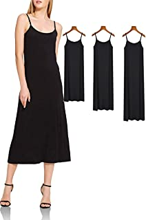 XUJI Womens Plus Size Soft Modal Full Slip, O Neck Slip Basic Cami Dress Nightwear Lingerie-3 Length Options