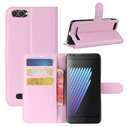 HualuBro Doogee X30 Hülle, Premium PU Leder Leather Wallet Handyhülle Tasche Schutzhülle Case Flip Cover mit Karten Slot für Doogee X30 5.5 Inch Smartphone (Pink)