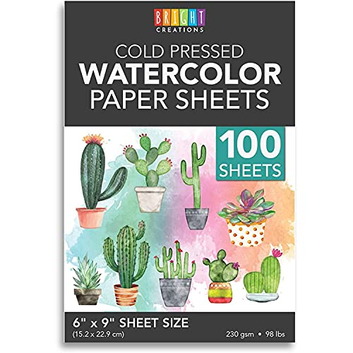 Cold Press Watercolor Paper for Artists and Beginners (6 x 9 in, 100 Sheets)