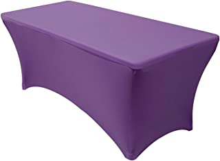 Your Chair Covers - Stretch Spandex 6 ft Rectangular Table Cover - Purple, 72
