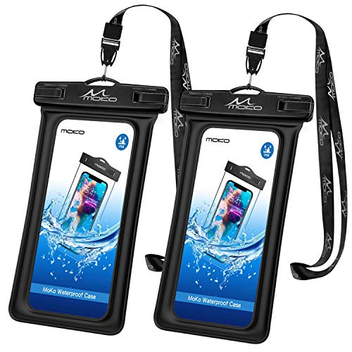 MoKo Flotante Funda Universal para Móvil hasta 6.2 Pulgada con Correa, [2 PZS] Bolsa Impermeable para iPhone 12/12 mini/12 Pro/iPhone 11/11 Pro/Pixel 4/Pixel 4 XL/Samsung S21 - Negro