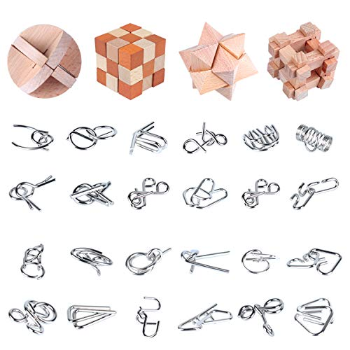 brain teaser games for adults Brain Teasers Wooden and Metal Puzzles 28Pcs Unlock Interlock 3D Brain Puzzle Games IQ Test Toys Brain Teaser Toy for Kids Adults