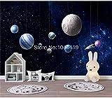 Papel tapiz fotográfico personalizado 3D Dibujos animados lindo Cielo nocturno estrellado Universo espacial Habitación de niños Fondo Pintura de pared Papel De Parede 3D-200cmx140cm (78.7x55.1inch) Pa