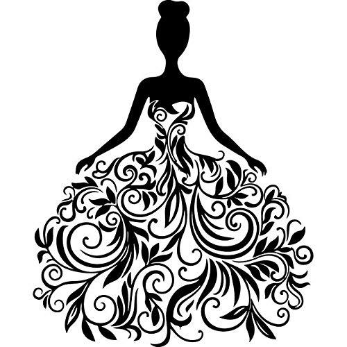 fdgdfgd Mode Frau Hochzeitskleid Brautkleid Party Wandaufkleber Vinyl Home Decor Fenster Aufkleber Abnehmbare Selbstklebende Wandbild Geschenk Wandaufkleber von zu Hause 42x52cm