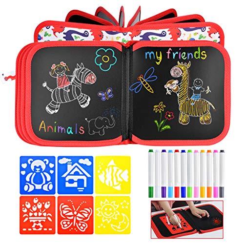Queta Tabla de Dibujo Portátil para Niños, Bloc de Dibujo con 12 Lápices de Colores y 6 Plantillas Tablero de Dibujo Graffiti Libro de Pizarra Reutilizable y Borrable para los Niños