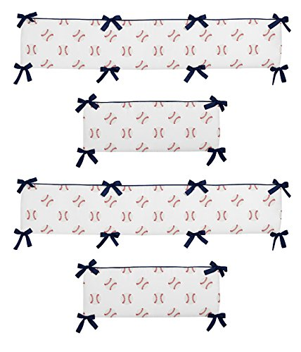 Sweet Jojo Designs Red, White and Blue Baby Crib Bumper Pad for Baseball Patch Sports Collection