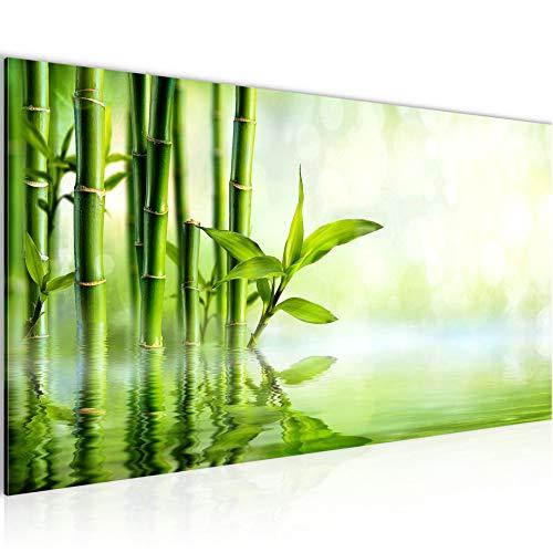 Bilder Bambus Wandbild 100 x 40 cm Vlies - Leinwand Bild XXL Format Wandbilder Wohnzimmer Wohnung Deko Kunstdrucke Grün 1 Teilig - MADE IN GERMANY - Fertig zum Aufhängen 024112a