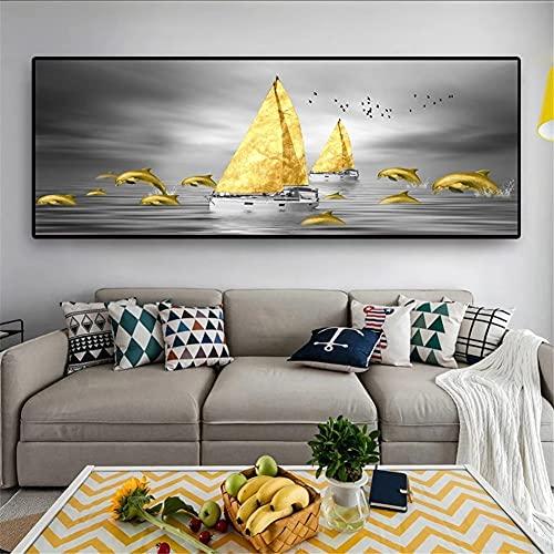 DIY 5D Large Diamond Painting Barco Dorado Kits de Perforación Completos Rhinestone Picture Art Craft para decoración de la Pared del hogar 60x180cm Square Drill